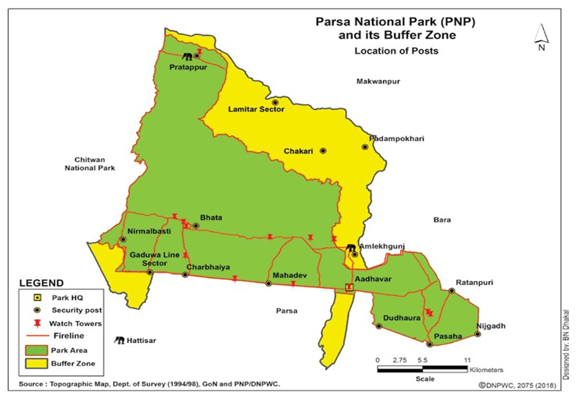 Map of Parsa National Park